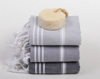 3 kitchen towels, hand towel set, head towels, baby bath towels, black grey peshtemal, baby beach towel, turkish tea towels, baby blanket