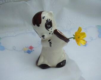 Adorable Vintage. Glazed Ceramic Squirrel Flower Vase or Toothpic Holder. Made in Japan.