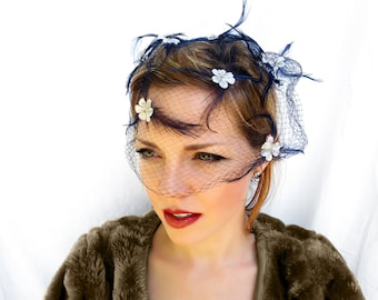 Vintage Ladies Hat, Navy Netting with Navy Feathers and White Flowers; Vintage Ladies Fashion
