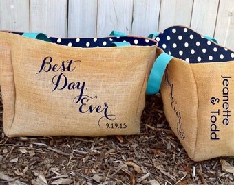 5+ Best Day Ever - Burlap Destination Custom Wedding Welcome Beach Tote Bags - Handmade Wedding Favors or Bridesmaids Gifts
