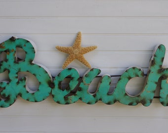 Metal Beach Sign - Aqua Blue - Wall Decor - Beach Decor