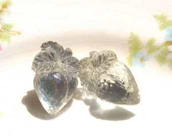 Vintage Strawberry Clear Glass Post Earrings