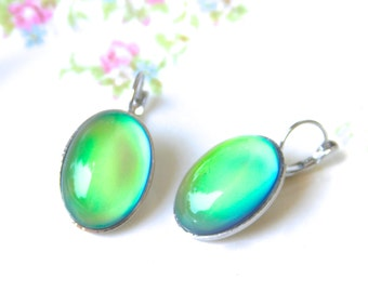 Green Blue Glass Silver Mood Stone Oval Drop Dangle Earrings ~ Wedding, Beach, Summer