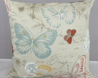 Pillow Cover  Butterflies on Cream/Beige Background 16x16    New.