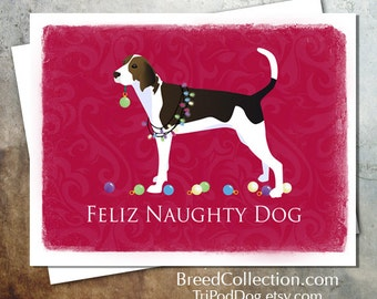 Treeing Walker Coonhound Dog Christmas Card from the Breed Collection - Digital Download  Printable