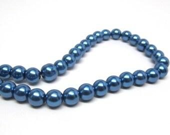 8mm Medium Blue Glass Pearl Imitation Round Beads - 32 inch strand
