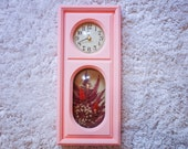 1970's Working Clock with floral terrarium (batteries included)