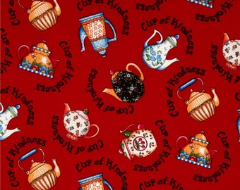 Novelty Mary Engelbreit Sewing It Quilt  It, Cup of kindness, teapots/ Craft fabric/ Quilting/ Decorating/clothing/ Crafting