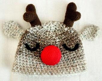 0 to 3m Newborn Christmas Hat, Baby Reindeer Hat Rudolph Red Nose Reindeer Baby Shower Gift, Christmas Crochet Newborn Reindeer Baby Hat