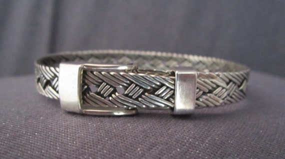Sterling Silver Woven Belt Buckle Bracelet, silver weave, signed Mexico, 925 jewelry, braided