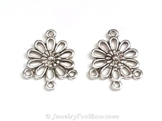 Chandelier Daisy Earring Finding, Antique Silver Flower Earring ...