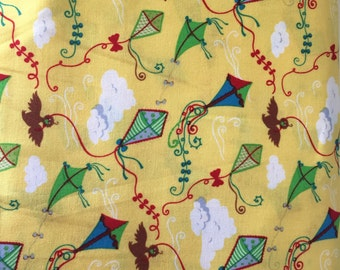 Kite fabric cotton, yellow, 52 inch, children's fabric, windy days, dressmaking, geranium dress, clouds
