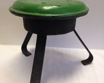 Vintage Primitive Milking Stool with Milk Can Lid....So Cool Plant Stand