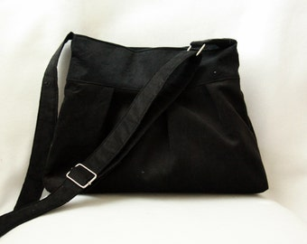 Pleated Tote Bag with Adjustable Strap in Black Corduroy