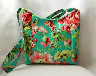 Cross Body Tote Bag with Front Pockets - Amy Butler Love, Bliss Bouquet