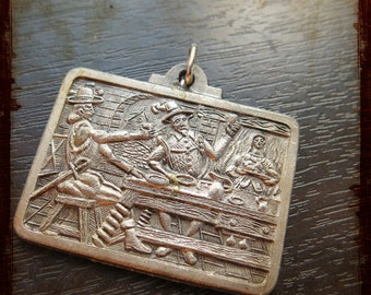 Vintage Silver French medieval restaurant medal - antique pendant from France for jewelry projects
