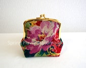 Limited: rustic linen floral frame purse - small cosmetic pouch, clasp purse