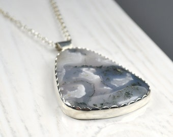 Large Moss Agate Stone Reversible Silver Pendant with Paisley Etched Pattern, One of a Kind Pendant
