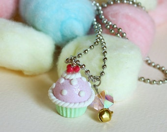 Polka dot cupcake necklace