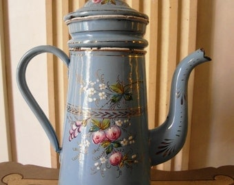Enameled  French COFFEE POT  Blue hand painted ROSES & country flowers Etoile Pen