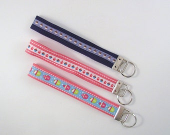 "Key Chain Strap 7.5"" Nylon Webbing and Cupcake Themed Grosgrain Ribbon Key Holder Key Fob Choice of Colors"