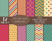 SALE - Indian Digital Paper, Bohemian Paper, Gypsy Boho, Orange Teal, Indian Spice, Polka Dots, Chevron Stripe,s Quatrefoil, Commercial Use
