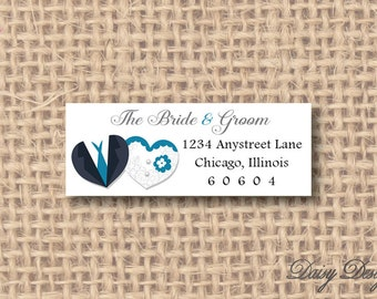 Return Address Labels - Bride and Groom Hearts - 120 self-sticking labels