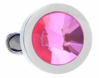 Light Rose Swarovski Crystal Cufflinks