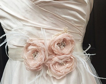 Blush Bridal Satin Sash Belt with Flowers