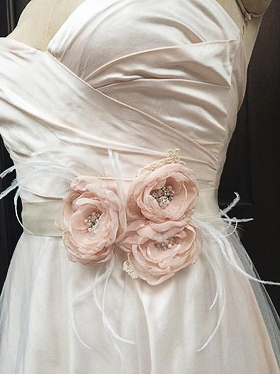 Blush Bridal Satin Sash Belt with Flowers