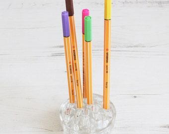 Clear Glass Flower Frog holder - Desk tidy - Pencil / Pen Holder 12 holes