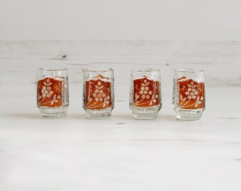 Vintage Brown Shot Glasses - Drinking amber glassware barware serving small schnapps grapes glass