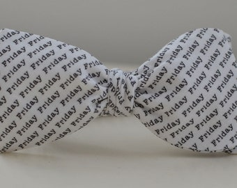 Men's Friday Bow Tie- text freestyle wedding groomsmen bowtie neck self tie black and white writing type