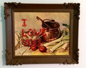 I Love You cross stitch on Vintage picture. Altered Art, Vintage kitsch.