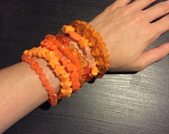 9 Bracelet ORANGE Color Bundle