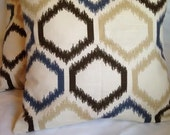 "SET OF TWO 16"" envelope closure pillow covers in Robert Allen Ikat Trellis"