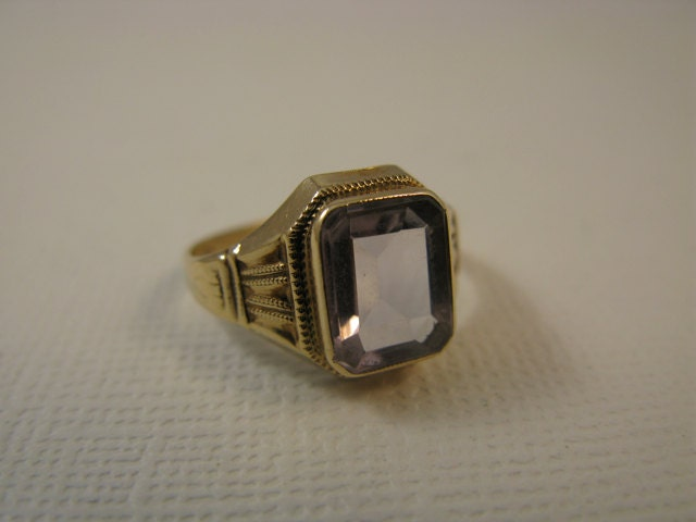 Vintage 10K Class Style Ring with Lavender Stone by SpoiledGirls