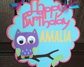 Owl Birthday Door Sign- Baby shower Birthday Party