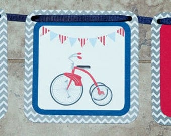 VIntage Bicycle Banner blue red birthday party baby shower- 9 characters and 3 tricycles