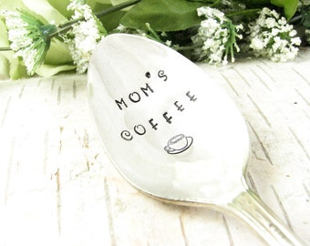 Mom's Coffee. Stamped Spoon. Christmas Gift for Coffee Lover. Hand Stamped Vintage Silverware for Gift Giving. Kitchen Utensil. 506SP
