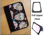 personalized HARD case - ipad case/ kindle case/ nook case/ others - full zipper close - skulls folklore
