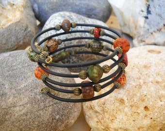 Boho Style Antique Brass with Multi-Color Wood Beads and Black Tubing Memory Wire Bracelet