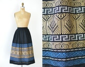 1950s Embroidered Skirt / 50s Pleated Black Skirt