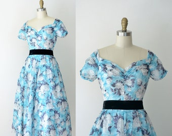 1950s Floral Print Dress / 50s Cotton Voile Dress