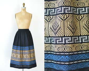 1950s Embroidered Skirt / 50s Pleated Black Skirt