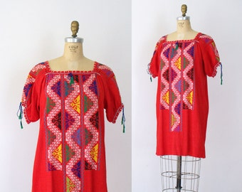 1970s Embroidered Dress / 70s Cross Stitch Red Cotton Mini Dress