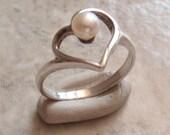 Pearl Heart Ring Sterling Silver Size 6 Dakota West Promise Ring Vintage V0693