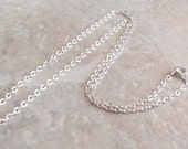 Silver Plated Cable Chain Finished 18 Inches Lobster Clasp