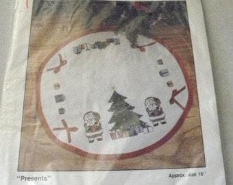 CIJ SALE 40% off Santa Mini Tree Skirt Happy Holidays Counted Cross Stitch Christmas Tree