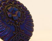 Vintage Cobalt Blue Pressed Glass Buttons, 27mm, 1 pair